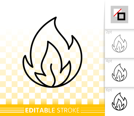 Fire thin line icon. Outline web sign of bonfire. Flame linear pictogram with different stroke width. Simple candle blaze vector symbol, transparent background. Flare editable stroke icon without fill Vector Illustration