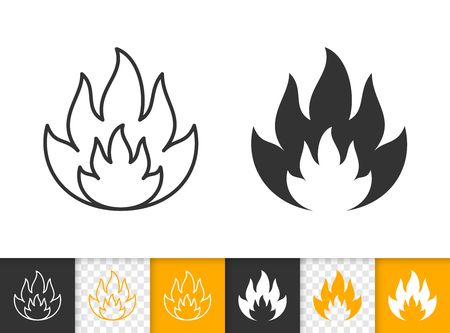 Fire black linear and silhouette icons. Thin line sign of bonfire. Flame outline pictogram isolated on white color, transparent background. Candle blaze vector Icon shape. Flare simple symbol closeup Stock Vector - 112310236