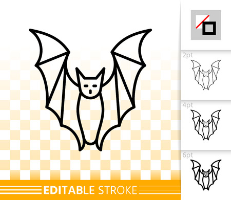 Bat thin line icon. Outline web sign of halloween. Vampire linear pictogram with different stroke width. Simple vector symbol on transparent background. Flittermouse editable stroke icon without fill Vectores