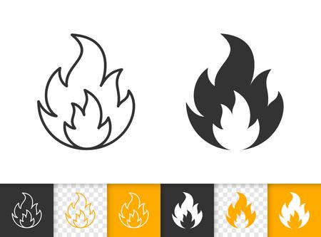 Feuer schwarze lineare und Silhouettensymbole. Dünne Linie Zeichen des Lagerfeuers. Flammenumriss-Piktogramm isoliert auf weißer Farbe, transparenter Hintergrund. Kerzenflamme Vektor Symbolform. Flare einfaches Symbol Nahaufnahme