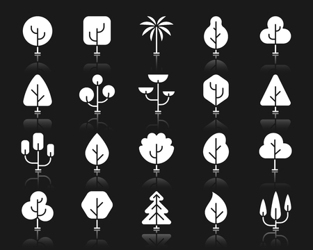 Abstract different shapes of trees icon set. Sign kit of nature bio forest. Pictogram collection includes eco plant, growth bush, autumn season. Simple vector white symbol. Tree icons with reflection
