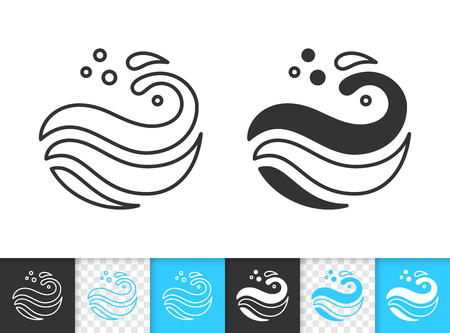 Wave black linear and silhouette icons. Thin line sign of sea. Splash outline pictogram isolated white, color, transparent background. Spiral curl stream vector Icon shape. Wave simple symbol closeup Ilustración de vector