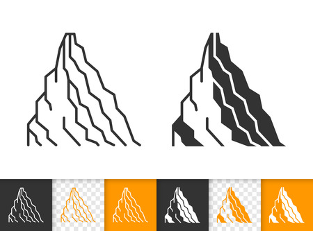 Mountain black linear and glyph icons. Thin line sign of nature landscape. High Peak outline pictogram isolated on white, transparent background. Vector Icon shape. Mountain simple symbol closeup