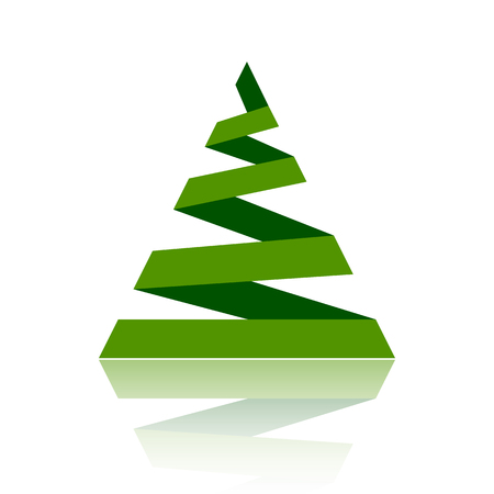Christmas tree cartoon icon. Simple sign of stylized spruce. Fir flat icon. Cute colorful christmas tree symbol concept for web print, logo, card, badge design. Vector Illustration isolated on white