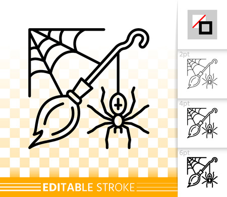 Halloween thin line icon. Outline web sign of broomstick. Corner spiderweb linear pictogram with different stroke width. Simple vector transparent symbol. Halloween editable stroke icon without fill