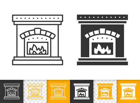 Fireplace black linear and glyph icons. Thin line christmas time sign. Open fire outline pictogram isolated on white color, transparent background. Vector icon shape of firesidee simple symbol closeup Vector Illustration