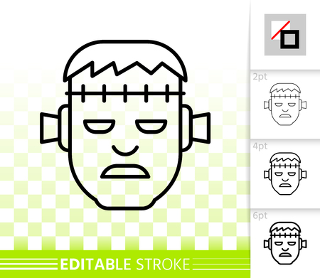 Frankenstein head thin line icon. Outline sign of zombie face. Halloween monster linear pictogram with different stroke width. Simple vector transparent symbol. Zombi editable stroke icon without fill