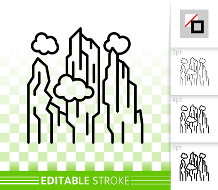 Mountain thin line icon. Outline nature landscape sign. High hill linear pictogram with different stroke width. Simple vector transparent symbol. Thailand Mountains editable stroke icon without fill