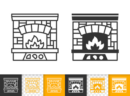 Fireplace black linear and glyph icons. Thin line christmas time sign. Open fire outline pictogram isolated on white color, transparent background. Vector icon shape of firesidee simple symbol closeup Stockfoto - 112310392