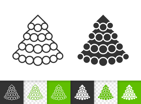 Christmas Tree black linear and silhouette icons. Thin line stylized spruce sign. Fir Farm outline pictogram isolated white, transparent backdrop Vector Icon shape Christmas Tree simple symbol closeup