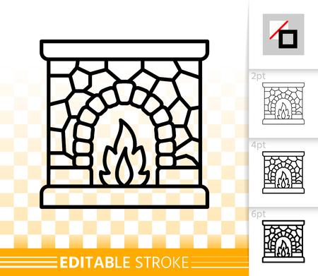 Dünne Liniensymbol für Kamin. Skizzieren Sie Web-Weihnachtszeitzeichen. Lineares Piktogramm des offenen Feuers mit unterschiedlicher Strichbreite. Einfaches Vektor-transparentes Symbol. Bearbeitbares Strichsymbol am Kamin ohne Füllung