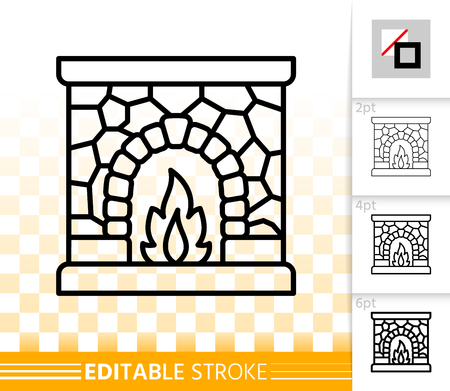 Fireplace thin line icon. Outline web christmas time sign. Open Fire linear pictogram with different stroke width. Simple vector transparent symbol. Fireside editable stroke icon without fill Фото со стока - 112310398