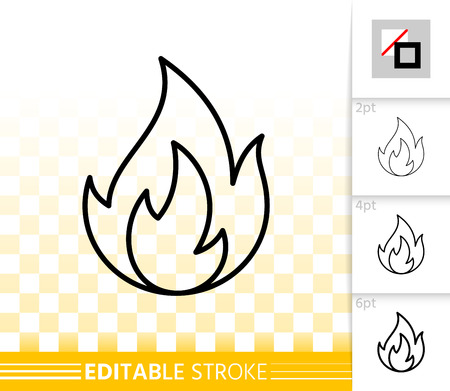 Fire thin line icon. Outline web sign of bonfire. Flame linear pictogram with different stroke width. Simple candle blaze vector symbol, transparent background. Flare editable stroke icon without fill