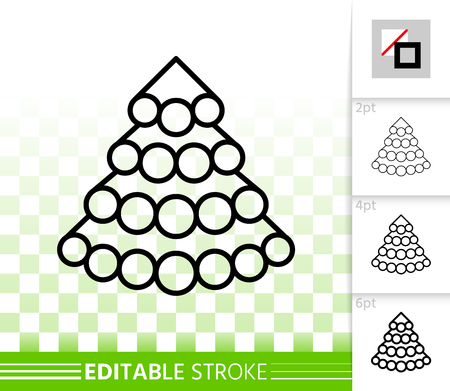 Christmas tree thin line icon. Outline sign of stylized spruce. Fir linear pictogram with different stroke width. New Year simple vector transparent symbol. Xmas tree editable stroke icon without fill