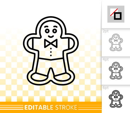 Gingerbread men cookie thin line icon. Outline web sign of xmas baking. Biscuit linear pictogram with different stroke width. Simple vector symbol on transparent. Editable stroke icon without fill Иллюстрация