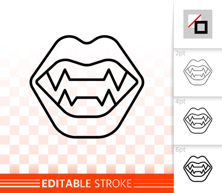 Vampire fangs thin line icon. Outline sign of dracula jaw. Halloween fun linear pictogram with different stroke width. Simple vector transparent symbol. Vampire mouth editable stroke icon without fill