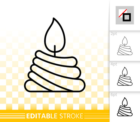Candle flame thin line icon. Outline sign church decoration. Memorial fire linear pictogram with different stroke width. Simple vector transparent symbol. Candlelight editable stroke icon without fill
