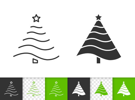 Christmas Tree black linear and silhouette icons. Thin line sign of stylized spruce. Fir outline pictogram isolated on white, transparent background. Vector Icon shape. Xmas tree simple symbol closeup Illustration