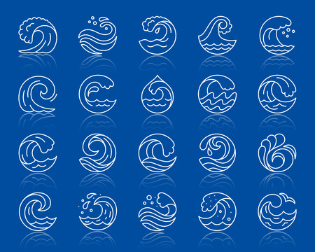 Wave thin line icons set. Outline vector web sign sea kit. Splash linear icon collection seaside ornate, cool wind, surface ripple Simple wave wtite contour symbol with reflection isolated on blue Ilustrace