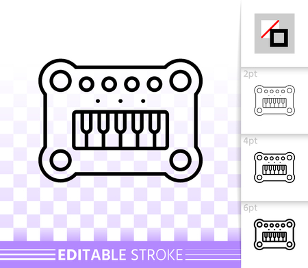 Baby piano thin line icon. Outline sign of musical. Instrument linear pictogram with different stroke width. Simple vector symbol, transparent background. Baby piano editable stroke icon without fill