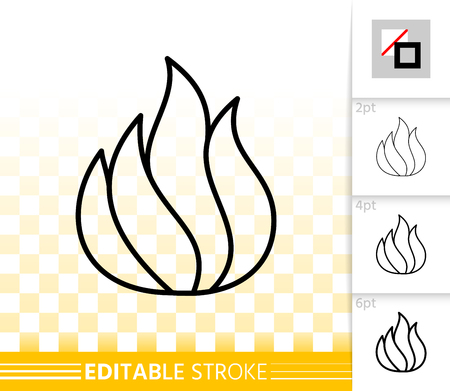 Fire thin line icon. Outline web sign of bonfire. Flame linear pictogram with different stroke width. Simple candle blaze vector symbol, transparent background. Flare editable stroke icon without fill Stock Vector - 112310305