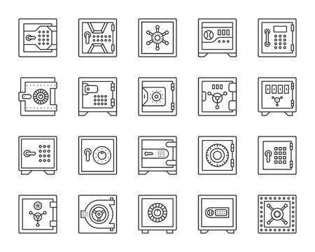 Safe thin line icon set. Outline web sign kit of bank cell. Keep money linear icons of steel strongbox, cash storage, code lock. Simple safe black contour symbol isolated on white. Vector Illustration