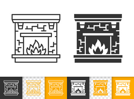 Fireplace black linear and glyph icons. Thin line christmas time sign. Open fire outline pictogram isolated on white color, transparent background. Vector icon shape of firesidee simple symbol closeup Vector Illustratie