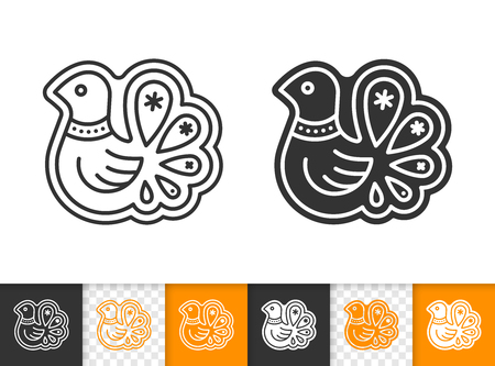 Gingerbread bird cookie thin line icon. Outline web sign of xmas baking. Biscuit linear pictogram with different stroke width. Simple vector symbol on transparent. Editable stroke icon without fill