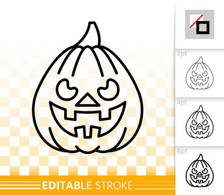 Halloween party pumpkin with carving face thin line icon. Jack O Lantern vector linear symbol with different stroke width. Editable stroke simple halloween sign without fill on transparent background Vectores