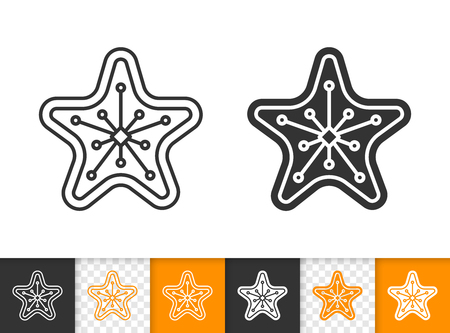 Gingerbread black linear and silhouette icons. Thin line sign of star. Xmas outline pictogram isolated on white, transparent background. Vector Icon shape. Cookie template simple symbol closeup Illustration