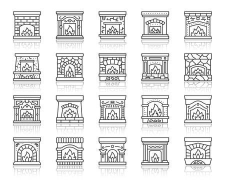 Fireplace thin line icon set. Outline web sign kit of christmas time. Open fire linear icons of luxury stone, burning log, glowing firewood. Simple fireplace black contour symbol vector Illustration Stockfoto - 112310559