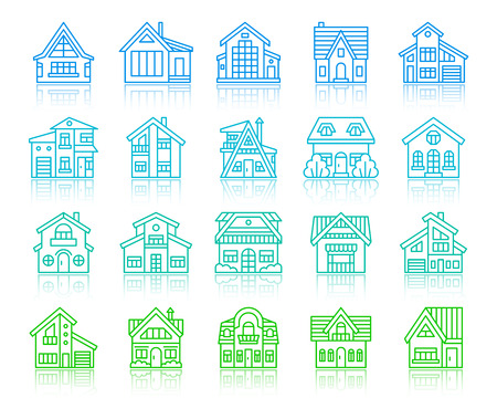 House thin line icon set. Outline vector sign kit of home exterior. Township linear icons includes sale, estate, new build. Simple cottage color contour symbol with reflection isolated on white