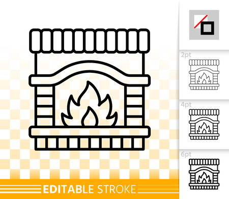 Fireplace thin line icon. Outline web christmas time sign. Open Fire linear pictogram with different stroke width. Flame simple vector transparent symbol. Fireside editable stroke icon without fill Stockfoto - 112310361