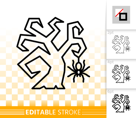 Scary Tree thin line icon. Outline web sign of spider. Halloween linear pictogram with different stroke width. Simple vector symbol transparent background. Scary Tree editable stroke icon without fill Vectores