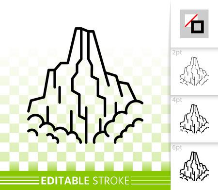 Symbol für die dünne Linie des Berges. Skizzieren Sie Web-Natur-Landschaft-Zeichen. Lineares Piktogramm des hohen Hügels mit unterschiedlicher Strichbreite. Einfaches Vektor-transparentes Symbol. Bearbeitbares Strichsymbol für Eisspitze ohne Füllung montieren Vektorgrafik