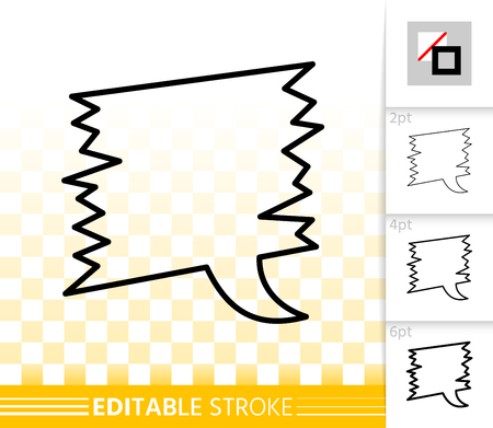 Speech bubble thin line icon. Outline comic tell sign. Chat linear pictogram with different stroke width. Simple vector transparent symbol. Clean web banner editable stroke icons without fill Illustration