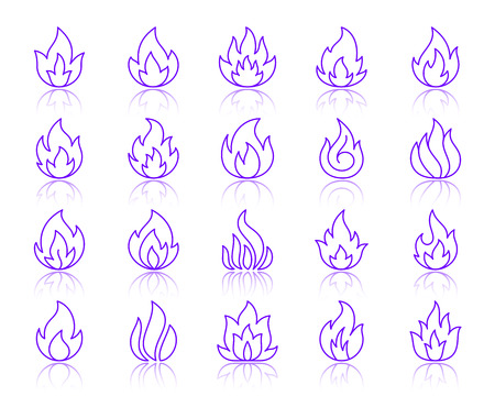 Fire thin line icons set. Outline violet web sign kit of bonfire. Flame linear icon collection includes energy, fiery flare. Simple fire color contour symbol isolated on white. Vector Illustration