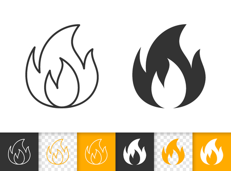Fire black linear and silhouette icons. Thin line sign of bonfire. Flame outline pictogram isolated on white color, transparent background. Candle blaze vector Icon shape. Flare simple symbol closeup