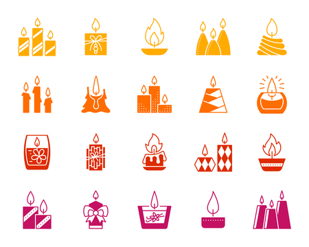 Candle Flame silhouette icons set. Church decoration sign kit. Memorial Fire monochrome pictogram. Romance scene, aroma therapy, party decor contour simple symbol. Vector stamp shape isolated on white