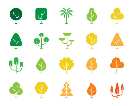 Geometric Trees silhouette icons set. Isolated sign kit of plant. Larch Forest pictograms of natural willow, eco fir, ecology life. Simple geometric trees contour symbol. Vector Icon shape for stamp