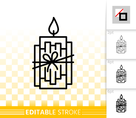 Candle with cinnamon sticks thin line icon. Outline flame sign. Christmas time linear pictogram, different stroke width. Simple vector symbol, transparent backdrop. Editable stroke icon without fill Фото со стока - 112310467