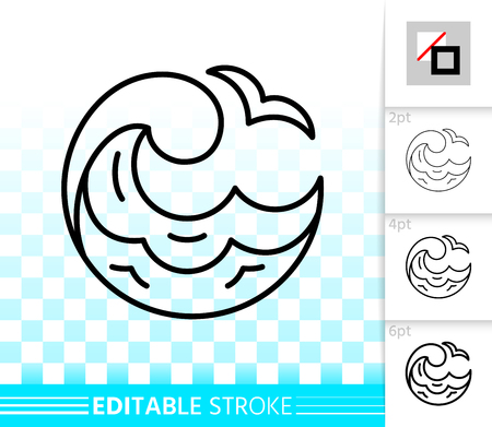 Wave thin line icon. Outline web sign of sea. Clean water splash linear pictogram with different stroke width. Simple spiral tide curl vector transparent symbol. Wave editable stroke icon without fill Vector Illustration