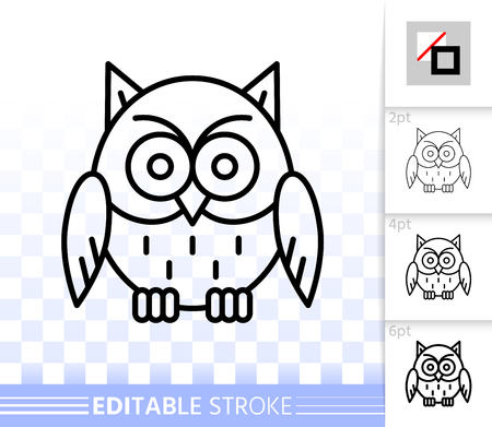 Owl thin line icon. Outline sign of halloween. Bird linear pictogram with different stroke width. Simple vector predator symbol, transparent background. Fun character editable stroke icon without fill Vectores