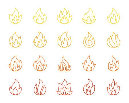 Conjunto de iconos de delgada línea de fuego. Esquema kit de muestra web monocromo de hoguera. La colección de iconos lineales de llama incluye energía, llamarada ardiente. Símbolo de contorno de color de fuego simple aislado en blanco. Ilustración vectorial