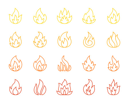 Fire thin line icons set. Outline monochrome web sign kit of bonfire. Flame linear icon collection includes energy, fiery flare. Simple fire color contour symbol isolated on white. Vector Illustration  イラスト・ベクター素材