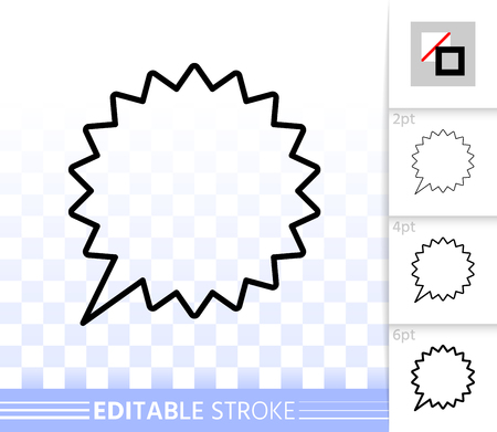Speech bubble thin line icon. Outline comic tell sign. Chat linear pictogram with different stroke width. Simple vector transparent symbol. Clean web banner editable stroke icons without fill
