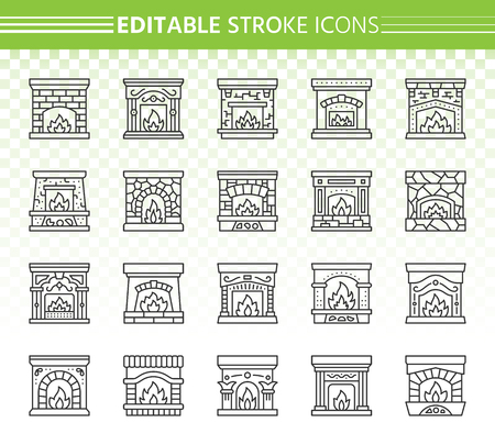 Fireplace thin line icon set. Outline sign kit of christmas time. Open fire linear icons of warm home, living roomwood, cosy house. Editable stroke without fill. Fireplace simple contour vector symbol