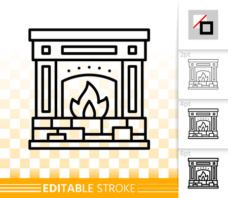 Fireplace thin line icon. Outline web christmas time sign. Open Fire linear pictogram with different stroke width. Simple vector transparent symbol. Fireside editable stroke icon without fill Stockfoto - 112310500