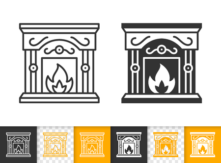 Fireplace black linear and glyph icons. Thin line christmas time sign. Open fire outline pictogram isolated on white color, transparent background. Vector icon shape of firesidee simple symbol closeup Stockfoto - 112310509