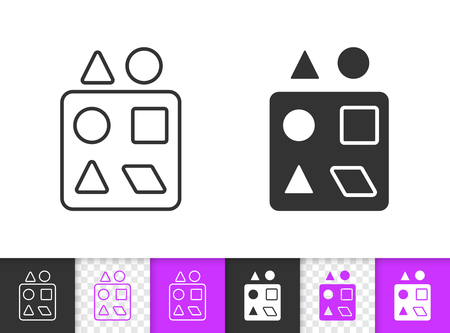 Sorter black linear and silhouette icons. Thin line sign of puzzle. Baby Toy outline pictogram isolated on white, color, transparent background. Vector Icon shape. Sorter simple symbol closeup